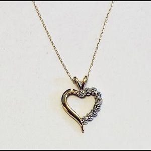 14K Gold & Diamond Heart Necklace